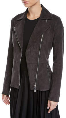 The Row Paylee Asymmetric Zip-Front Suede Leather Moto Jacket