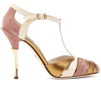 Dolce & Gabbana - Metallic Leather And Suede T Bar Sandals - Womens - Nude Multi