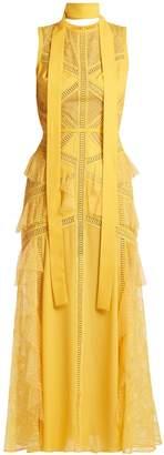 Elie Saab Tulle and floral-lace midi dress