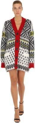 N°21 Oversized Wool Mohair Jacquard Cardigan