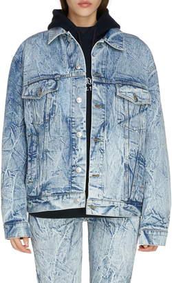 Balenciaga Crinkle Wash Logo Denim Jacket