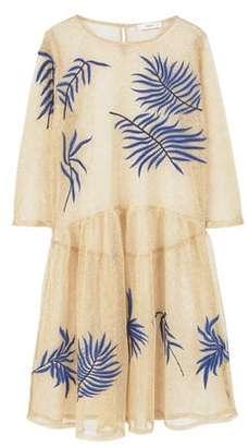 MANGO Metallic embroidered dress