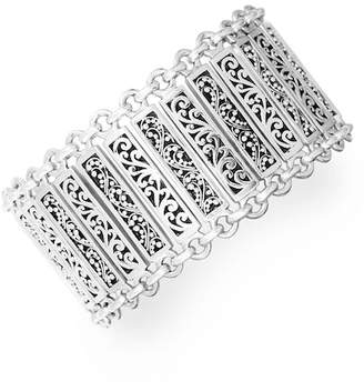 Lois Hill Sterling Silver Interlocked Trim Filigree Cuff Bracelet