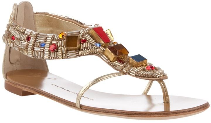 GIUSEPPE ZANOTTI DESIGN - Jewelled thong sandals
