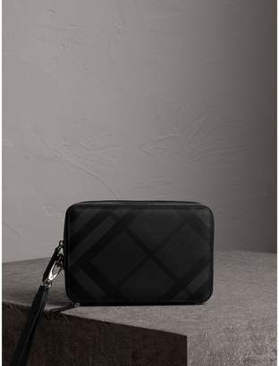 Burberry Leather-trimmed London Check Pouch