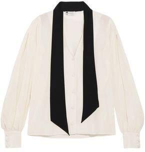 Lanvin Pussy-bow Two-tone Silk Crepe De Chine Blouse