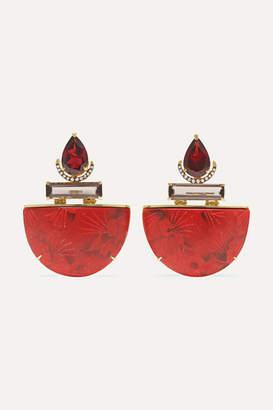 Silvia Furmanovich Marquetry 18-karat Gold And Wood Multi-stone Earrings