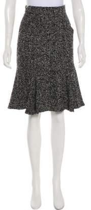 Oscar de la Renta Pleated Knee-Length Skirt Black Pleated Knee-Length Skirt