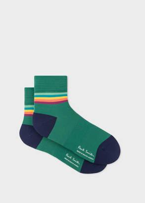 Paul Smith Men's Forest Green Artist Stripe Trim Cycling Socks