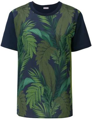 Moncler foliage print contrast sleeve T-shirt