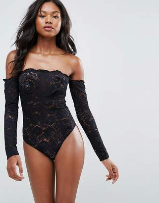 Asos DESIGN Lex Premium Lace Long Sleeve Off Shoulder bodysuit