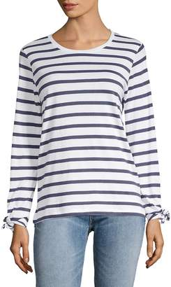Joan Vass Women's Striped Long-Sleeve Top