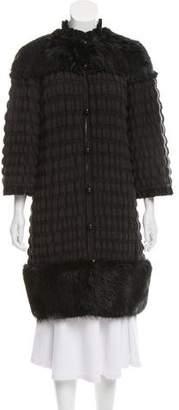 Fendi Virgin Wool Fur-Trimmed Cardigan