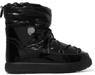 Moncler Shell And Patent-leather Snow Boots - Black