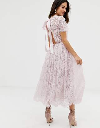 Asos DESIGN lace midi dress with ribbon tie and open back