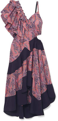 Loewe Cold-shoulder Ruffled Printed Cotton-jersey Maxi Dress - Lavender
