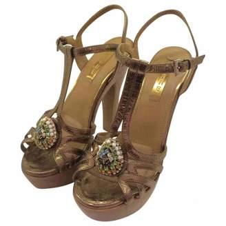 Lerre Gold Leather Heels