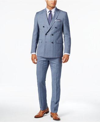 Michael Kors Men's Classic-Fit Light Blue Glen Plaid Double-Breasted Suit $650 thestylecure.com