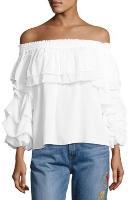 MISA Los Angeles Elyse Off-the-Shoulder Ruffled Top $198 thestylecure.com