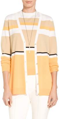 St. John Jersey Knit Color Block V-Neck Cardigan
