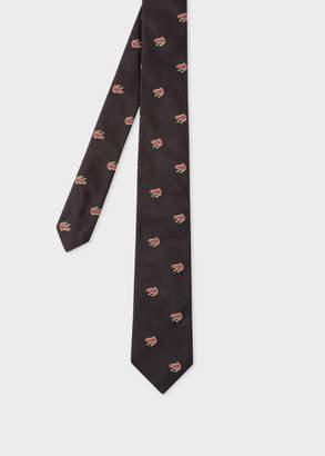 Paul Smith Men's Black Embroidered 'Dreamer Frog' Narrow Silk Tie