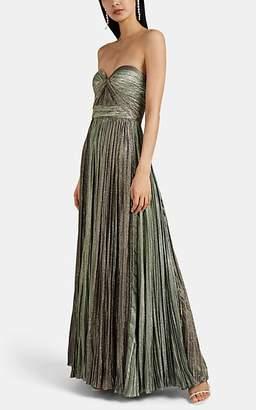 J. Mendel Women's Plissé Lamé Strapless Gown - Green