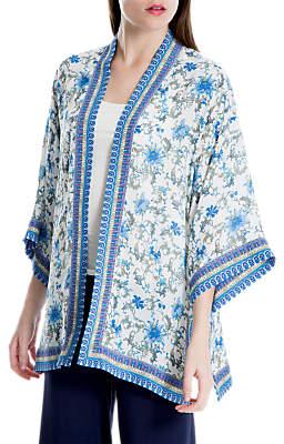 Max Studio Printed Kimono, Ivory/Chambray