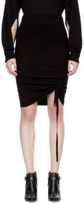 Alexander Wang Black Merino Ruched Pencil Miniskirt