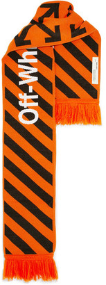 Off-White - Intarsia Knitted Scarf - Orange $155 thestylecure.com