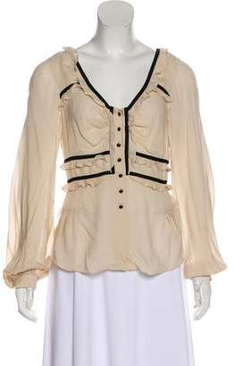 Robert Rodriguez Silk Ruffle-Accented Blouse w/ Tags