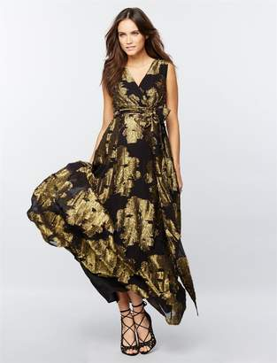A Pea in the Pod Jacquard Metallic Chiffon Maternity Gown