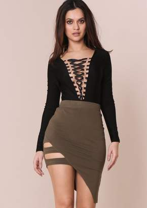 Missy Empire Missyempire Jayda Khaki Caged Asymmetric Bodycon Skirt