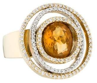 Ring 18K Diamond & Citrine Cocktail