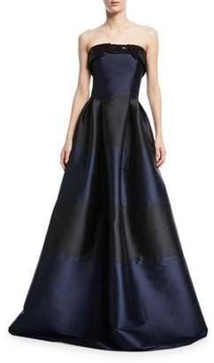 Sachin + Babi Corrine Striped Sequin Strapless Fold-Over Gown