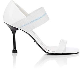 Prada Women's Logo-Band Patent Leather Sandals - Bianco
