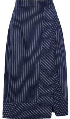 Altuzarra Jude Wrap-Effect Pinstriped Gabardine Skirt