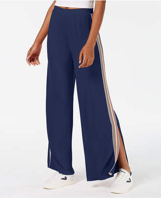 Ultra Flirt by Ikeddi Juniors' Striped Split Wide-Leg Pants