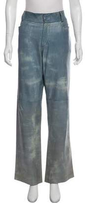 Dolce & Gabbana Mid Rise Leather Pants
