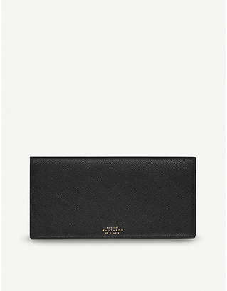 Smythson Panama slim grained-leather travel wallet