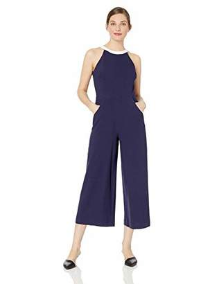 Karl Lagerfeld Paris Women's Halter Neckline Cropped Jumpsuit with Pockets