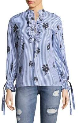Derek Lam 10 Crosby Embroidered Striped Blouse