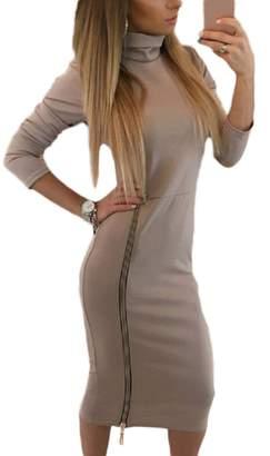 Lettre d'amour Women Slit High Neck Long Sleeve Zipper Side Bodycon Cocktail Dress S
