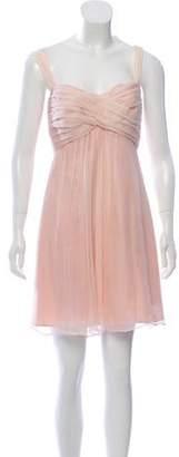 Amsale Silk Pleat-Accented Dress