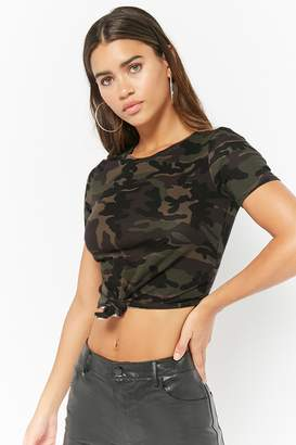 Forever 21 Camo Print Knotted Tee