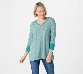Halston H By H by Space Dye French Terry V-Neck Top with Forward Notches