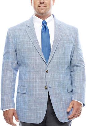 STAFFORD Stafford Bright Blue Plaid Linen-Cotton Sport Coat - Big & Tall