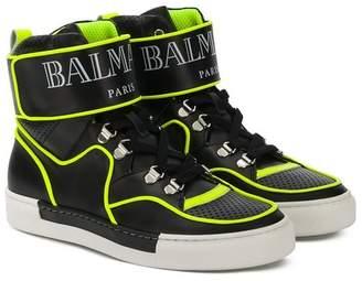 Balmain Kids TEEN logo strap hi-top sneakers