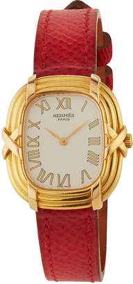 Hermes Ruban 18k Watch w/ Leather, Red/Gold