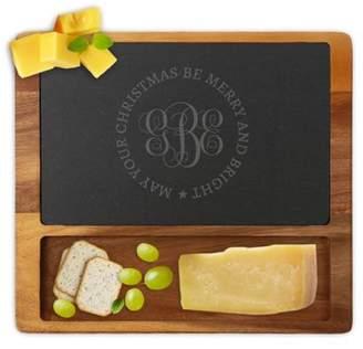 MonogramOnline Custom Christmas Monogram Square Cheese Slate Board