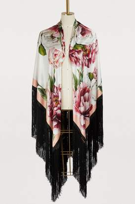 Dolce & Gabbana Peonies fringes scarf